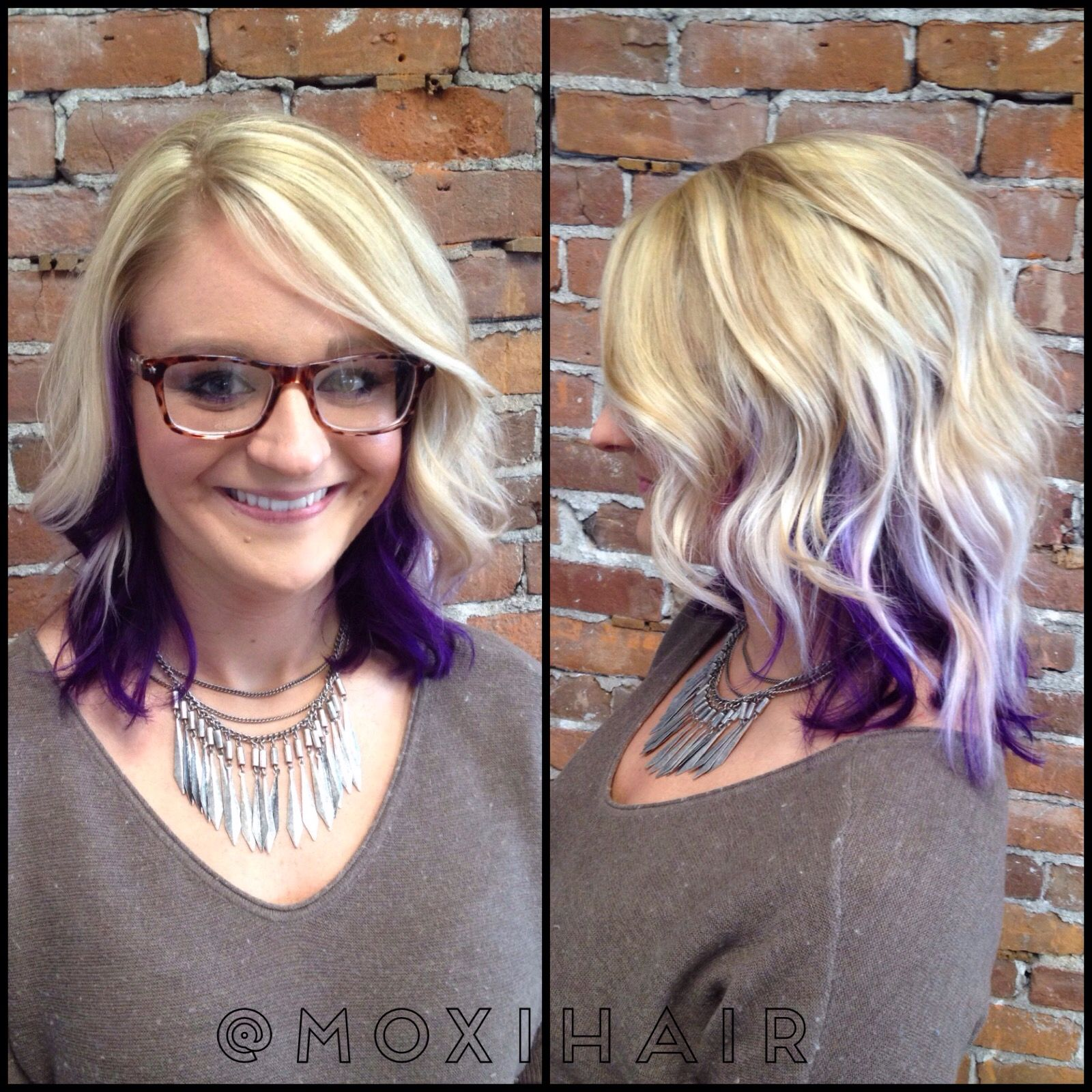 Blonde Highlights And Purple Peekaboo Underneath With Beach Wave Lob Hair Color Flamboyage Purple Highlights Blonde Hair Peekaboo Hair