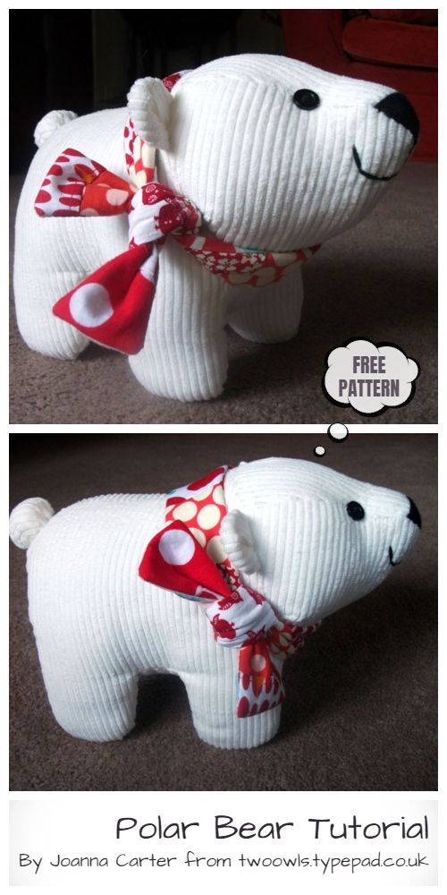 DIY Fabric Toy Polar Bear Free Sewing Pattern & Tutorial #fabrictoys