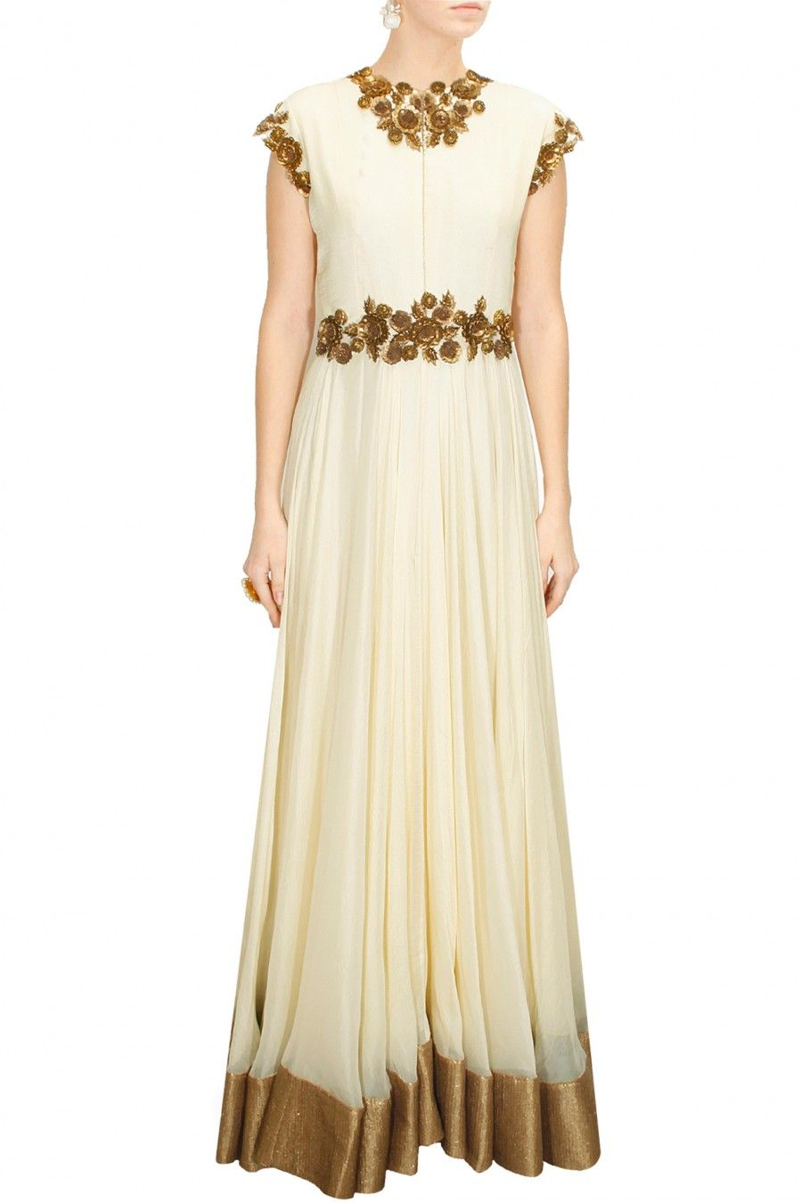 Deccan dreams cream sequins and metal flower embellished flared