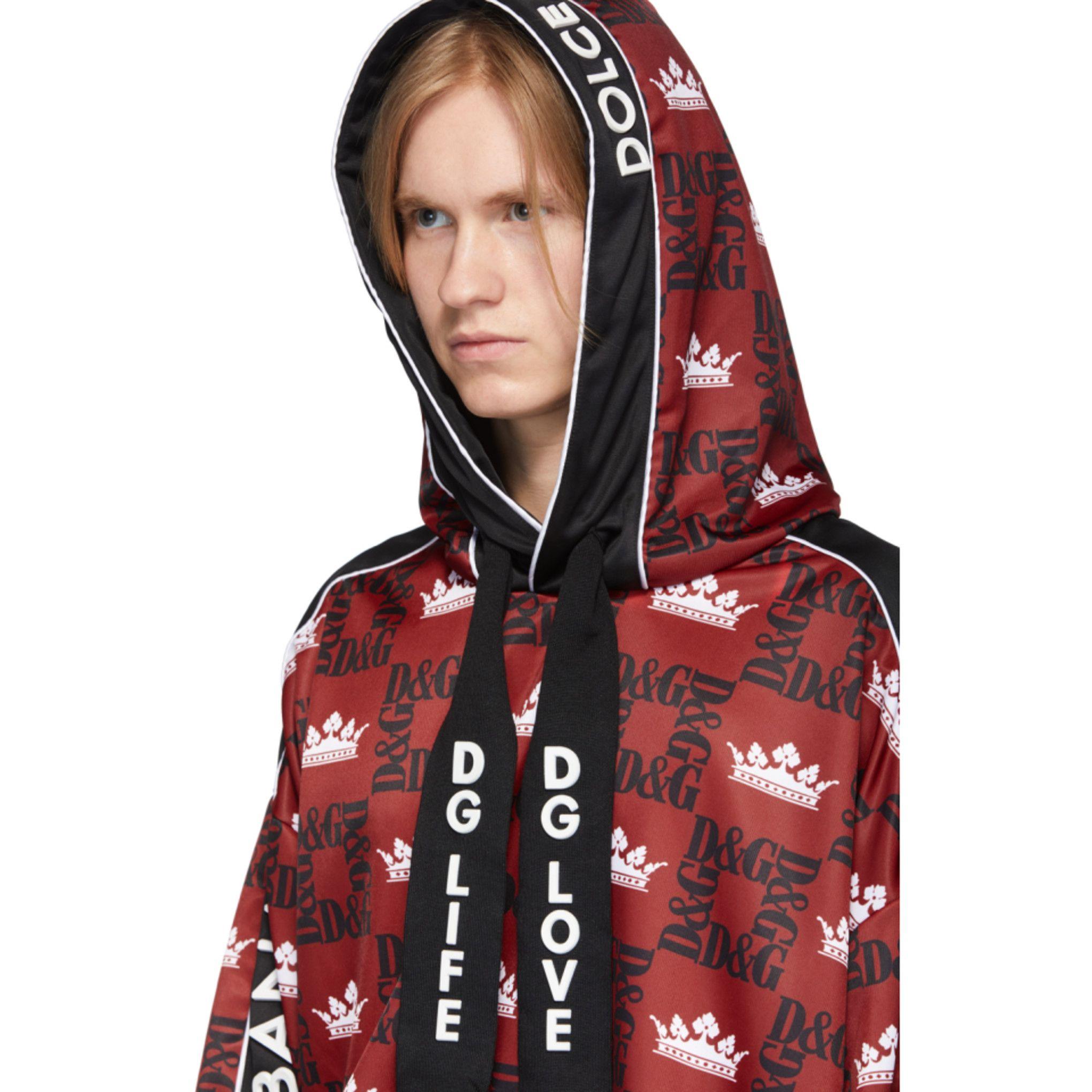 Dolce & Gabbana Red & Black Logo Crown Hoodie
