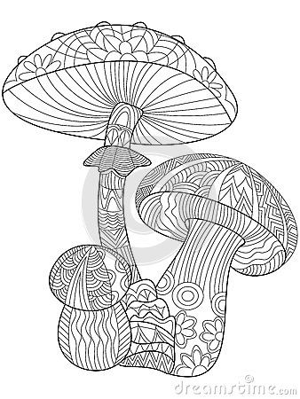 Mushroom coloring vector for adults | Coloring books, Free ...