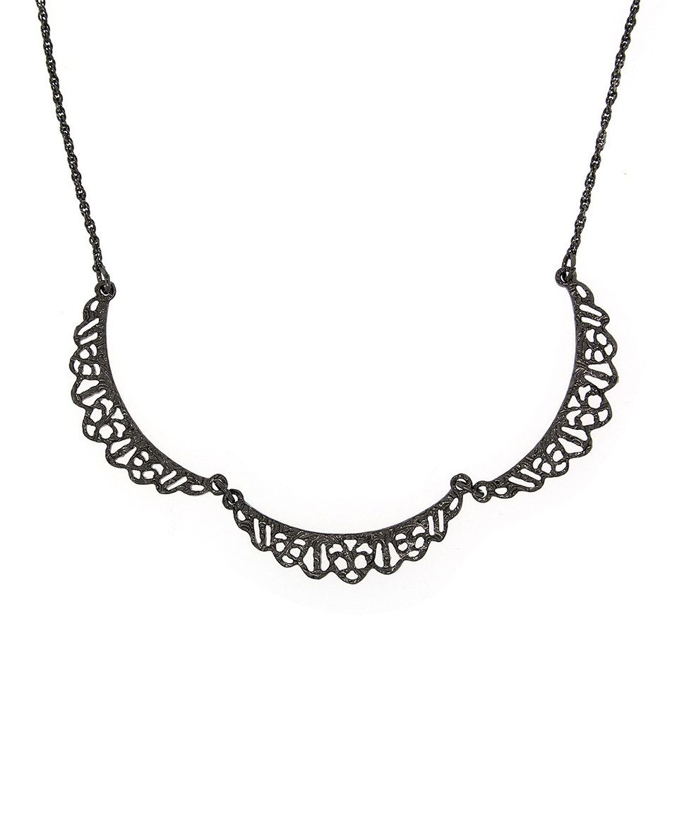 Black Downton Abbey Belle Epoch Filigree Scallop Necklace by Downton Abbey #zulily #zulilyfinds