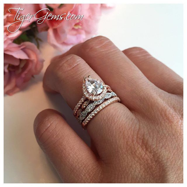 Ring Stack Of The Day The 1 5 Ctw Pear Halo Set With A Small Art