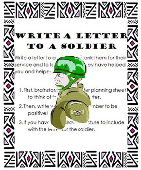 Letter To A Soldier Patriotic Writing Lesson  Troops Students