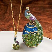 Peacock Enamelled Box & Pendant