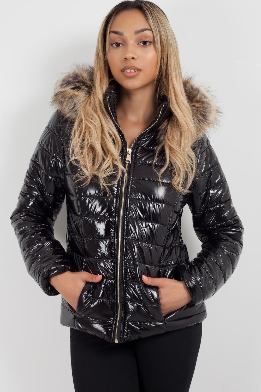 Black Shiny Puffer Coat With Faux Fur Hood Faux Fur Hood Puffer Coat Fur Hood [ 1500 x 1000 Pixel ]