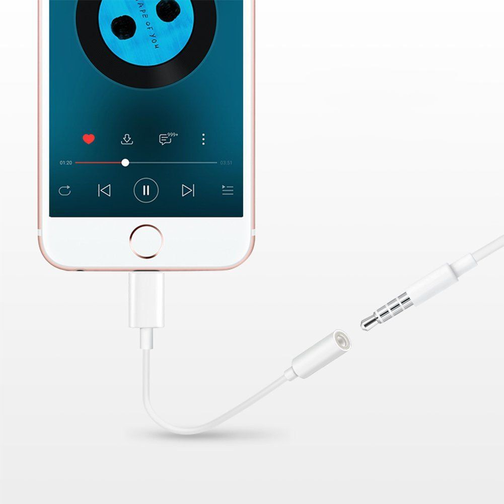 2 Pack Lightning To 3 5mm Headphone Jack Adapter Lightning Connecter To 3 5mm Audio Jack Earphone Extender Jack Stereo For I Audio Adapter Earphone Headphone