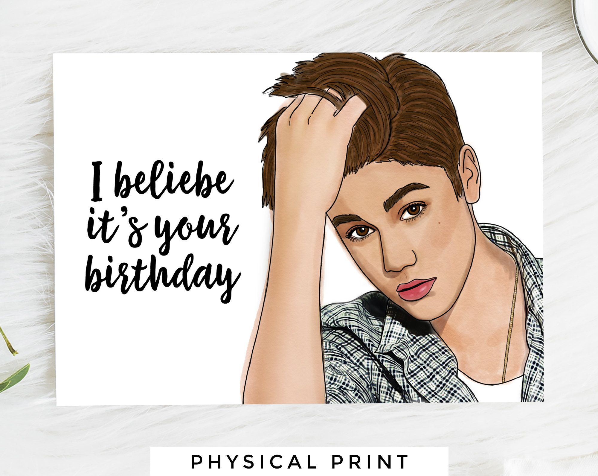 Justin Bieber Happy Birthday Greeting Card in 5  Happy