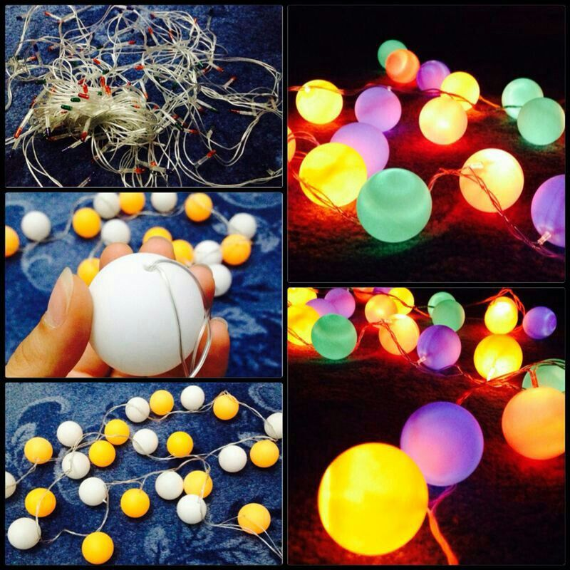 Pin-pon balls turns into  cute lights