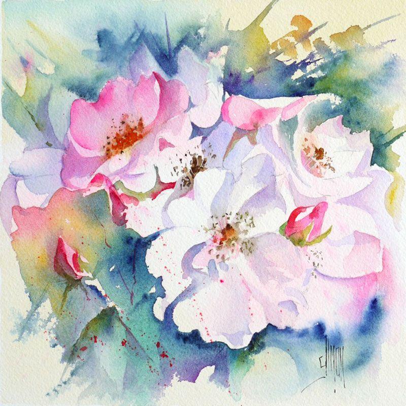 Eglantine Joel Simon Peinture Fleurs Aquarelle Fleurs Carte