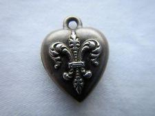 Vintage Repousse Sterling Silver FLEUR DE LIS PUFFY HEART Charm~engraved GARTH
