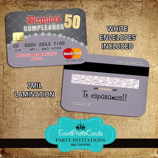 50th Birthday Invitations That Look Like Credit Cards