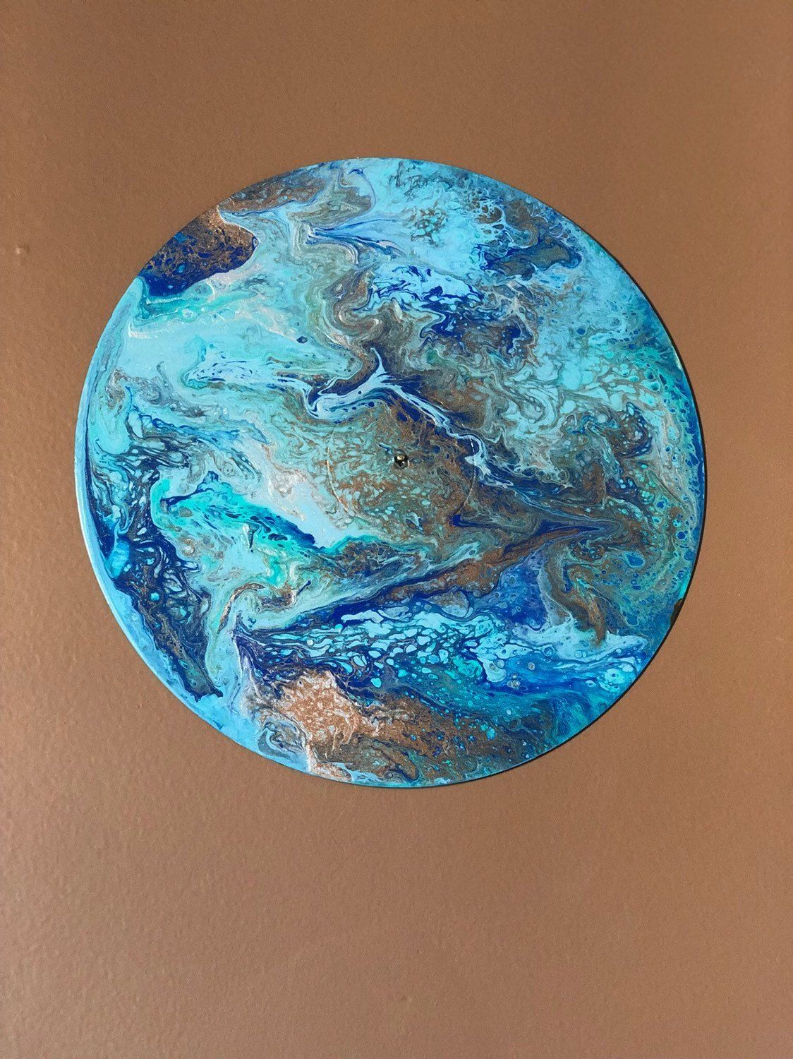 Blue Aqua Gold Planet Painting Fluid Acrylic Flip Cup Style With Minimal Texture On 12 Inch Vinyl Lp Record By A In 2020 Planet Painting Vinyl Painted Fluid Acrylics