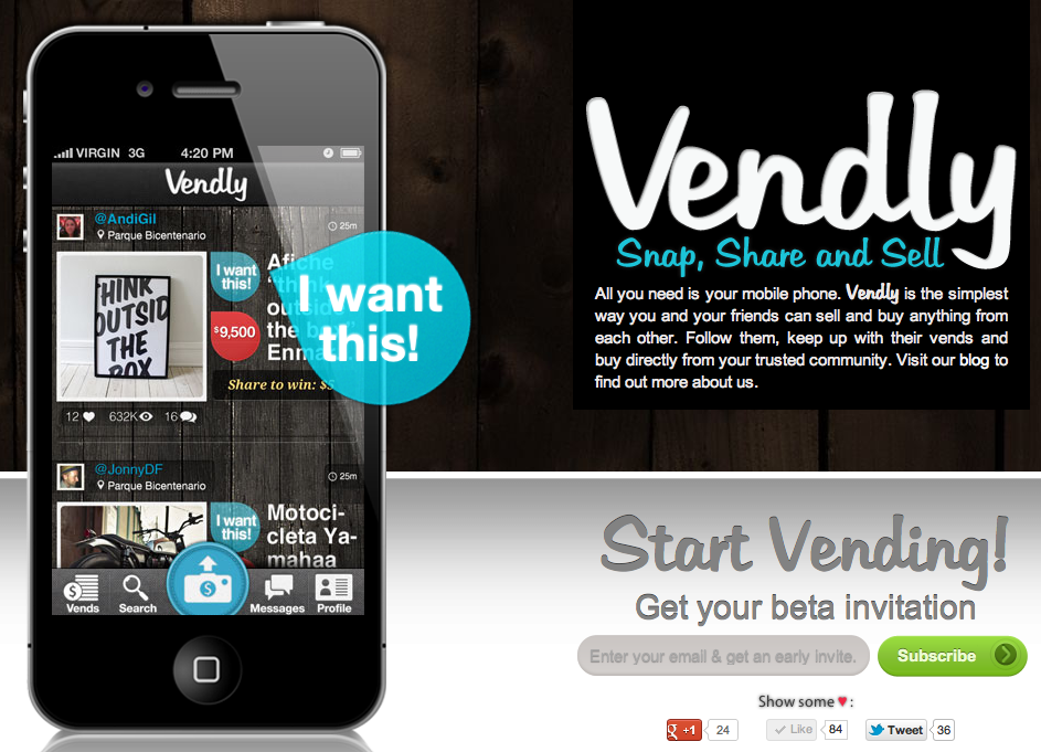 Vendly, Snap, Share and Sell, from your mobile phone. http://vend.ly/