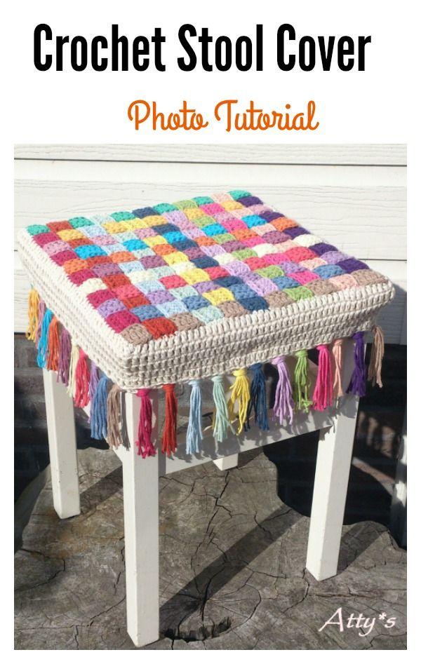 Crochet Stool Cover Free Patterns | BEATRIZ | Pinterest | Tejido ...
