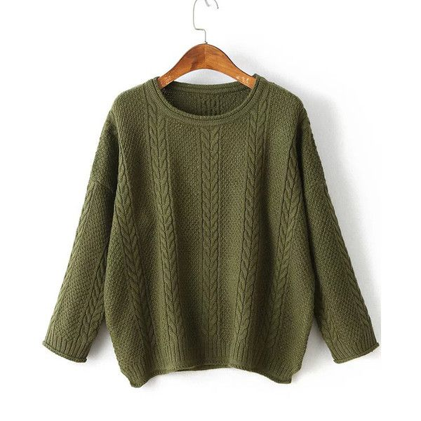 Army Green Drop Shoulder Side Slit Cable Knit Sweater (28 CHF) ❤ liked on Polyvore featuring tops, sweaters, green top, long sleeve pullover sweater, acrylic sweater, army green sweater and long sleeve sweater