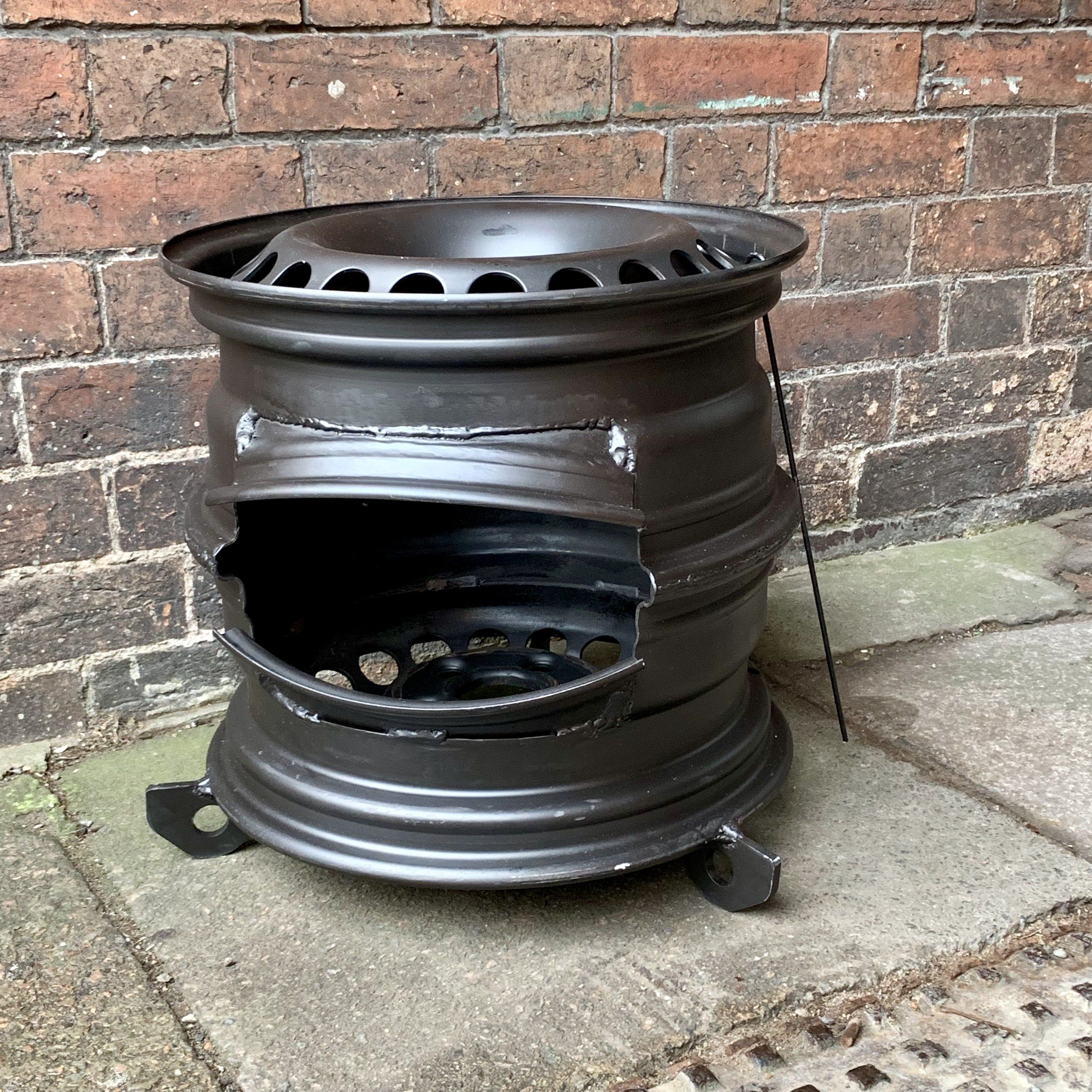 Upcycled Vw Wheels Fire Pit Wheel Fire Pit Fire Pit Wood Stove