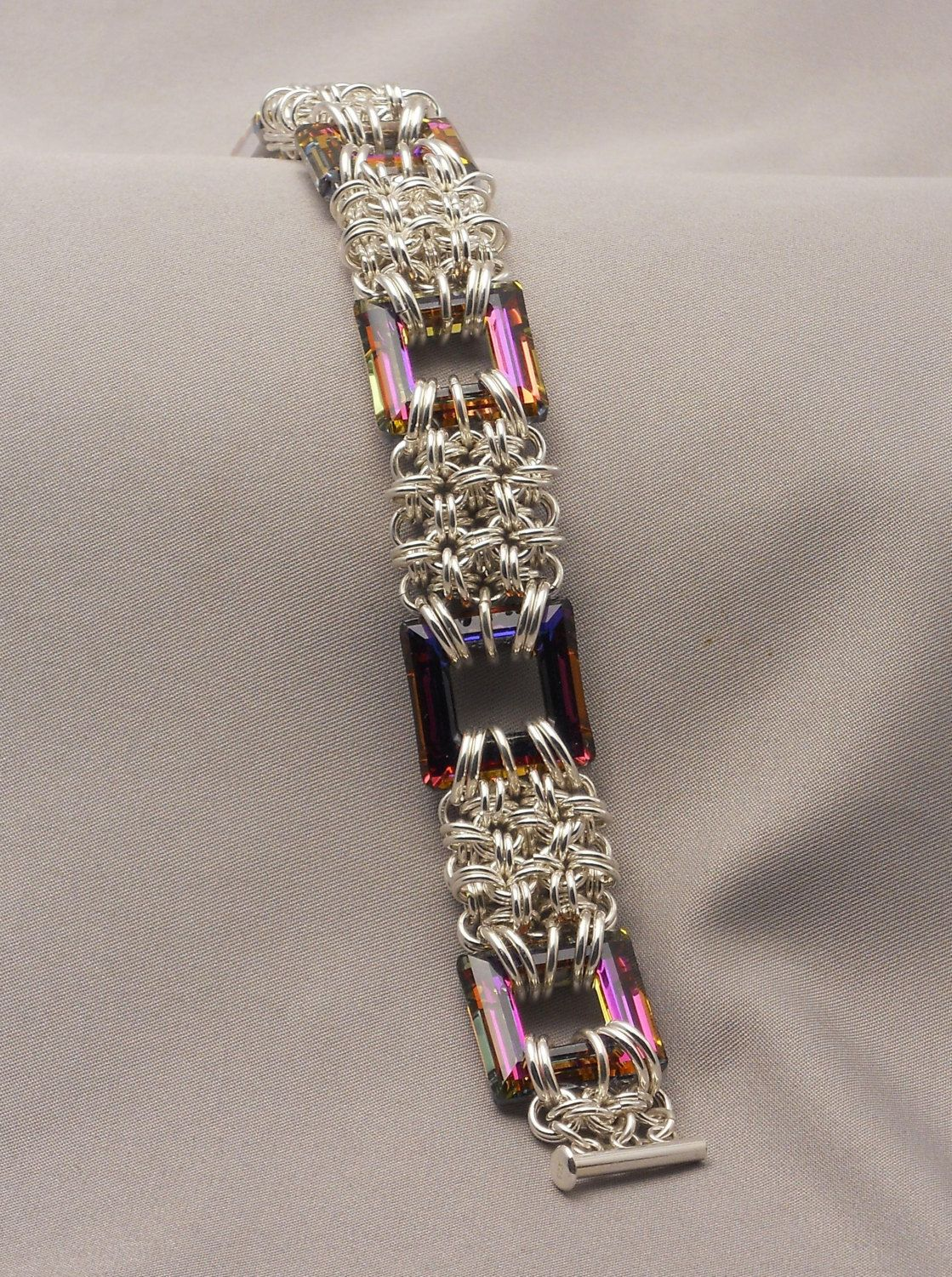 Sterling Silver Chain Maille With Square Swarovski Crystals