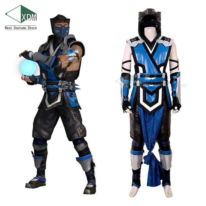 Mortal Kombat 11 Sub Zero Cosplay Costume Mk 11 Belt Game Halloween Full Set Ebay Sub Zero Costume Mortal Kombat Cosplay Costumes For Men