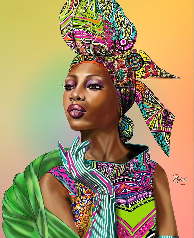 African colours Painting African colours Fine Art Print