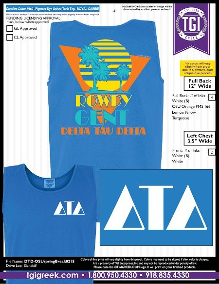 TGI Greek - Delta Tau Delta - Spring Tropical Tank - Comfort Colors - Greek T-shirts  #tgigreek #deltataudelta