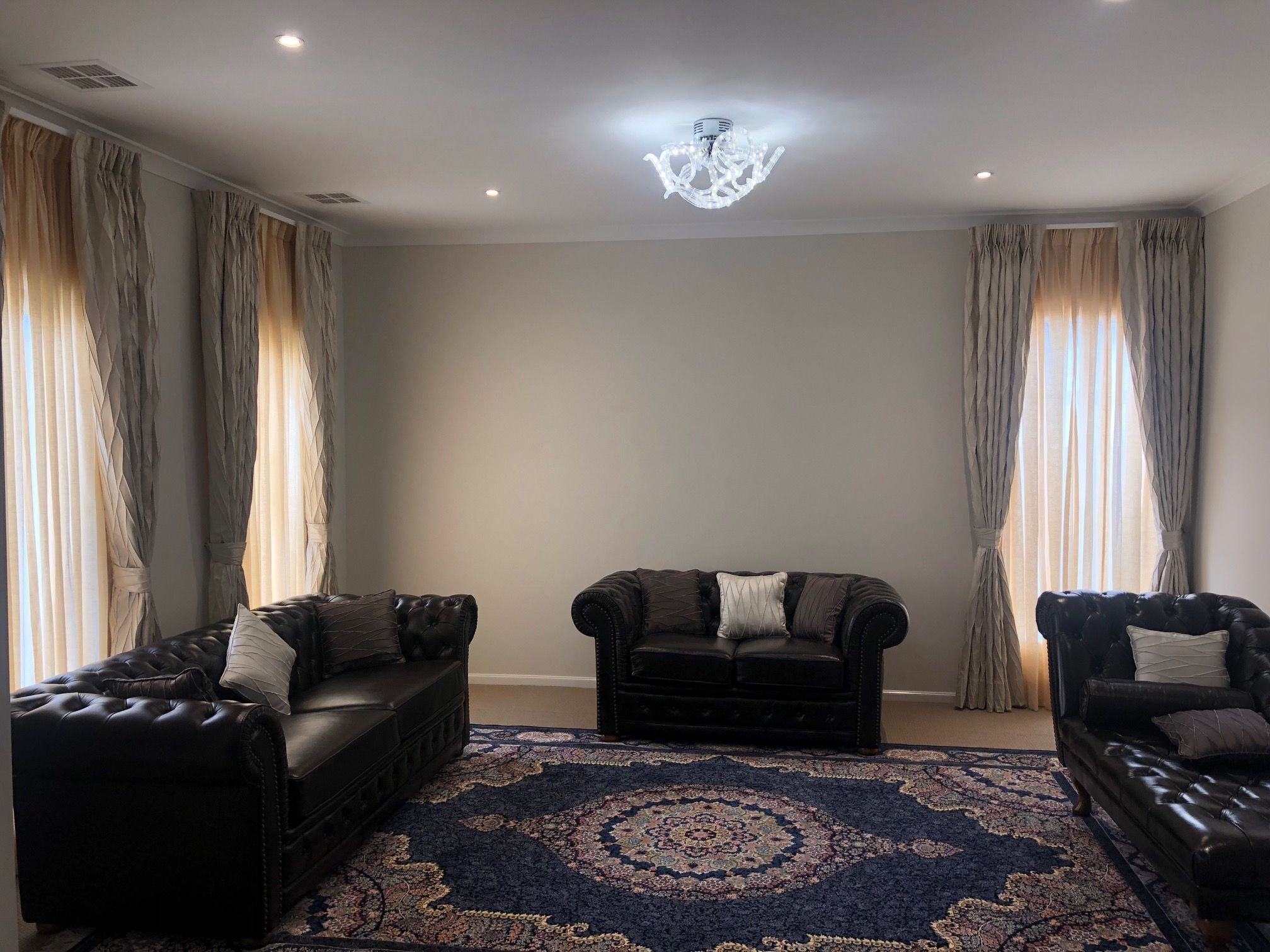Formal living room drapes with blockout lining and sheer ...