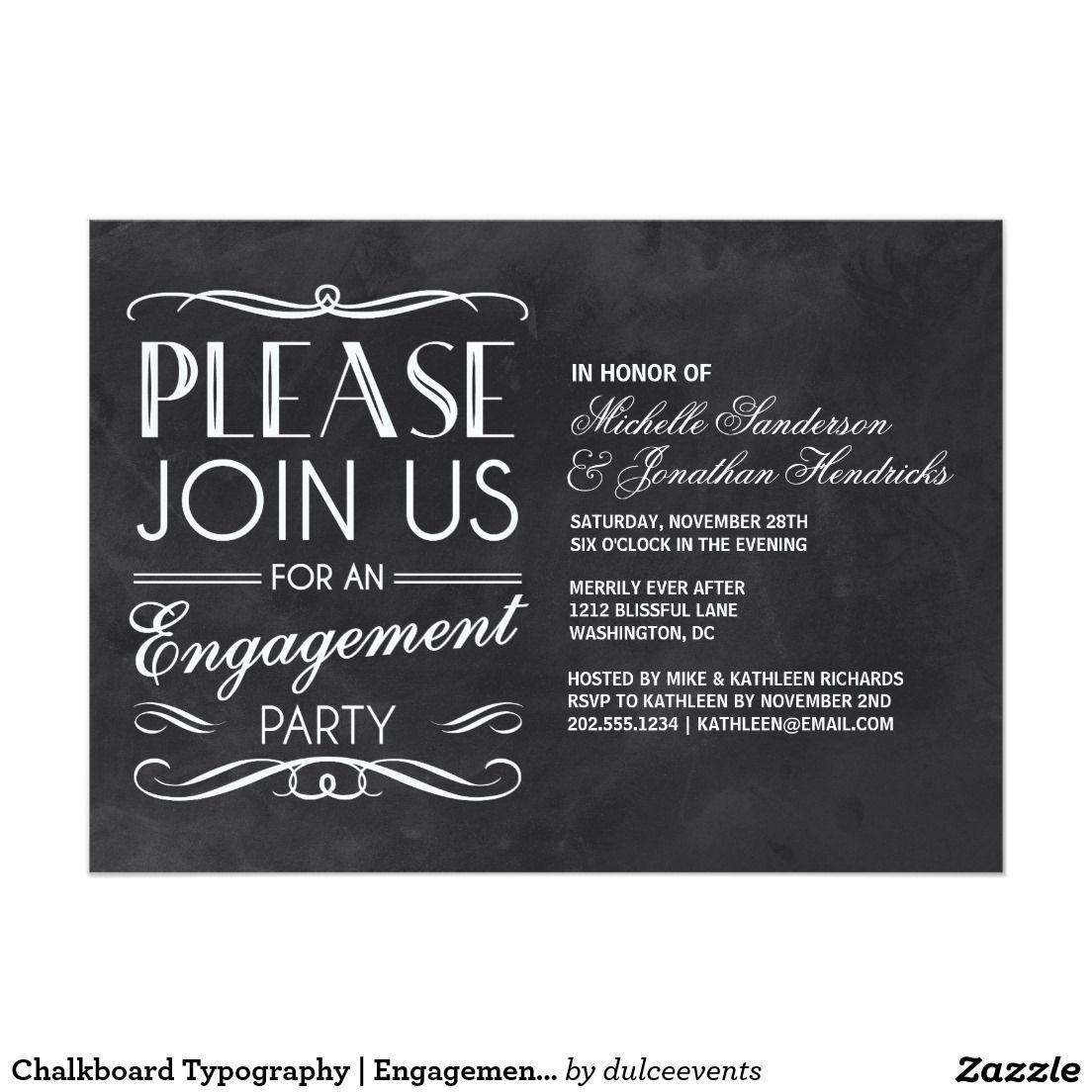 Chalkboard Typography   Engagement Party Invite   Wedding ...