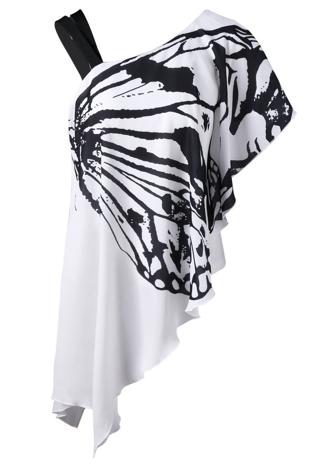 761d4814d38 $19.62 One Shoulder Butterfly Asymmetric T-Shirt - White | My Style ...
