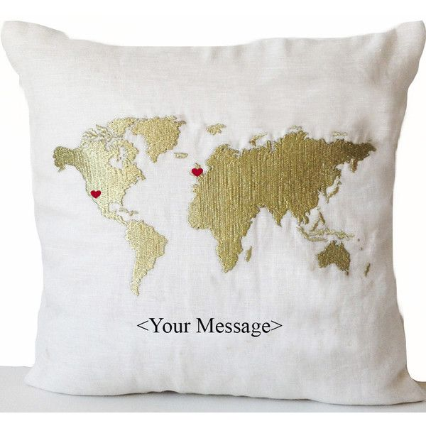 Linen Pillow Cover World Map With Heart Custom Message Embroidery 43 Liked On Polyvore Fea Decorative Pillow Cases Map Pillow Handmade Cushion Covers