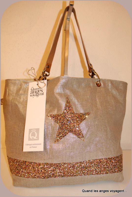 197310a48c Cabas lin argenté avec étoile en paillettes, moyen : Sacs à main par les- etoiles-des-anges