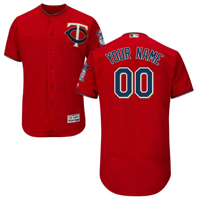 Minnesota Twins Majestic Alternate Flex Base Authentic Collection Custom  Jersey - Scarlet Camisetas De Fútbol d889cb904