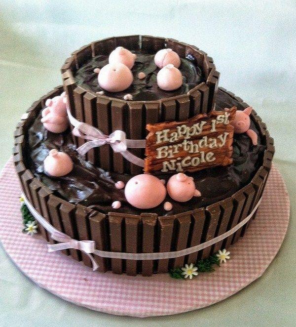 Chocolate Pig Cake With Kit Kats Recipe
