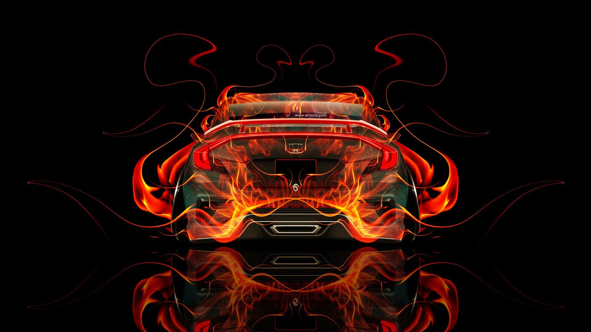 Honda Civic JDM Back Fire Abstract Car 2015 « El Tony
