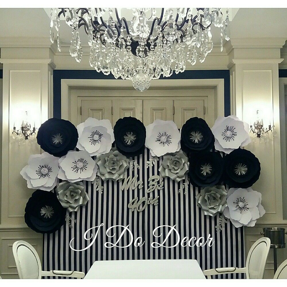 Paper flower backdrop navy blue white and silver Paper flower