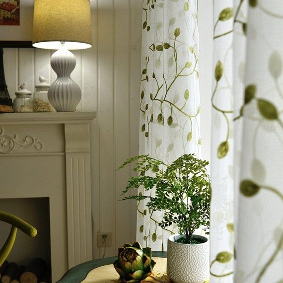 White Green Leaves Embroidery On White Lace Sheer Curtain Fabric
