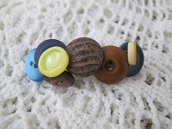 Blue and Brown Button Barrette made with Vintage Buttons on Etsy, $10.00