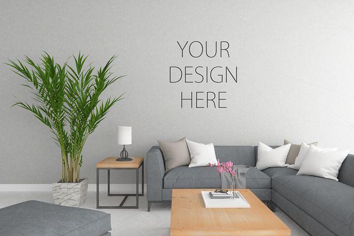 Interior Mockup Blank Wall Mock Up 36043 Mockups Design Bundles In 2021 Blank Walls Design Interior