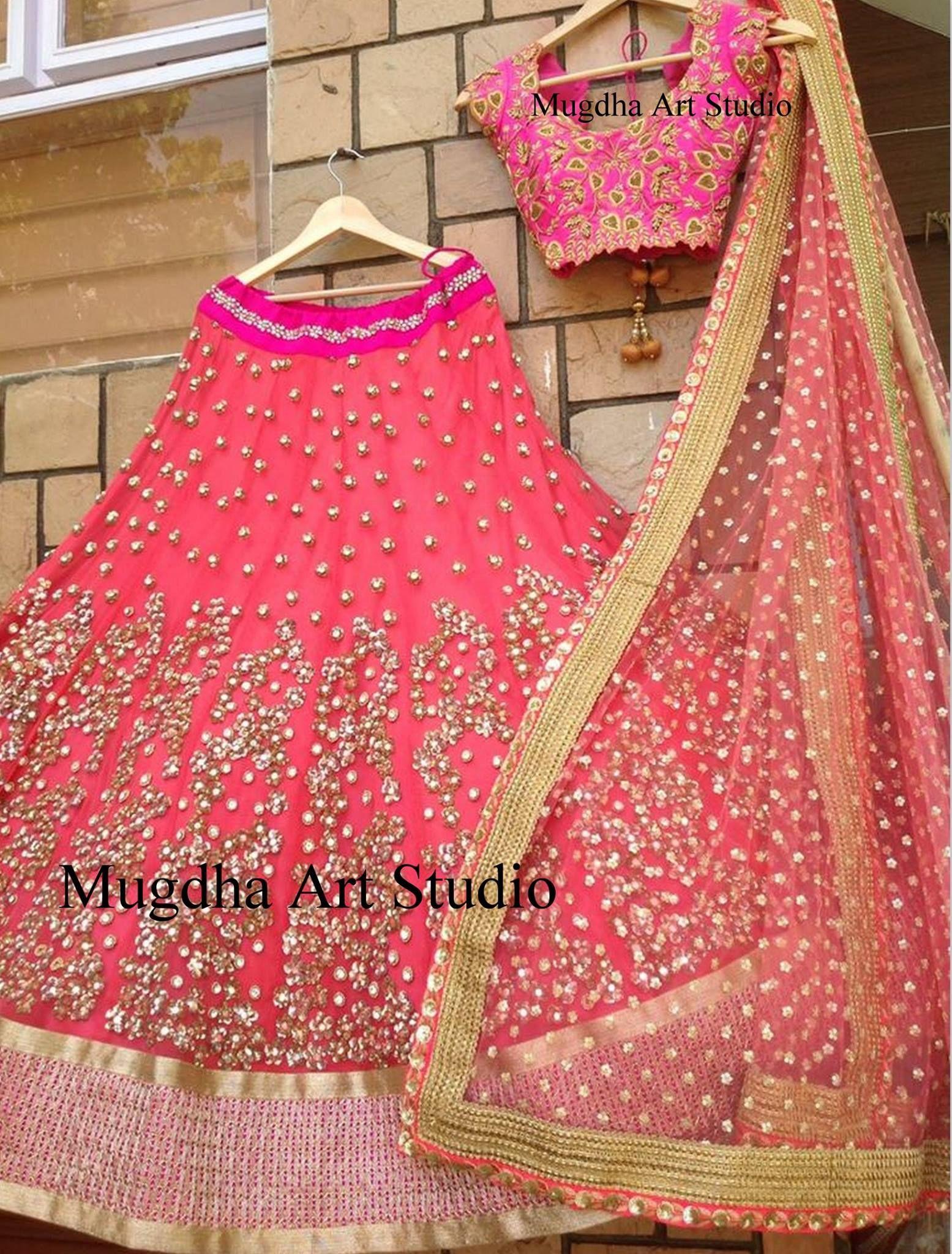 Half saree blouse design indian pink wedding or special occasions attire  creative ideas