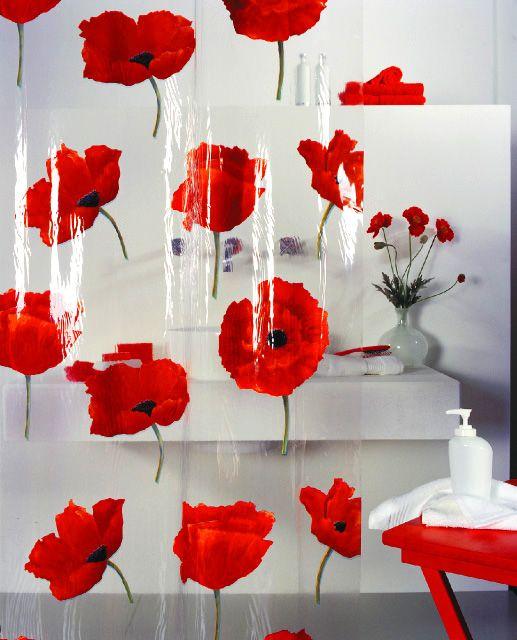 The Spirella Poppy Shower Curtain RemembranceDay Red Bathroom
