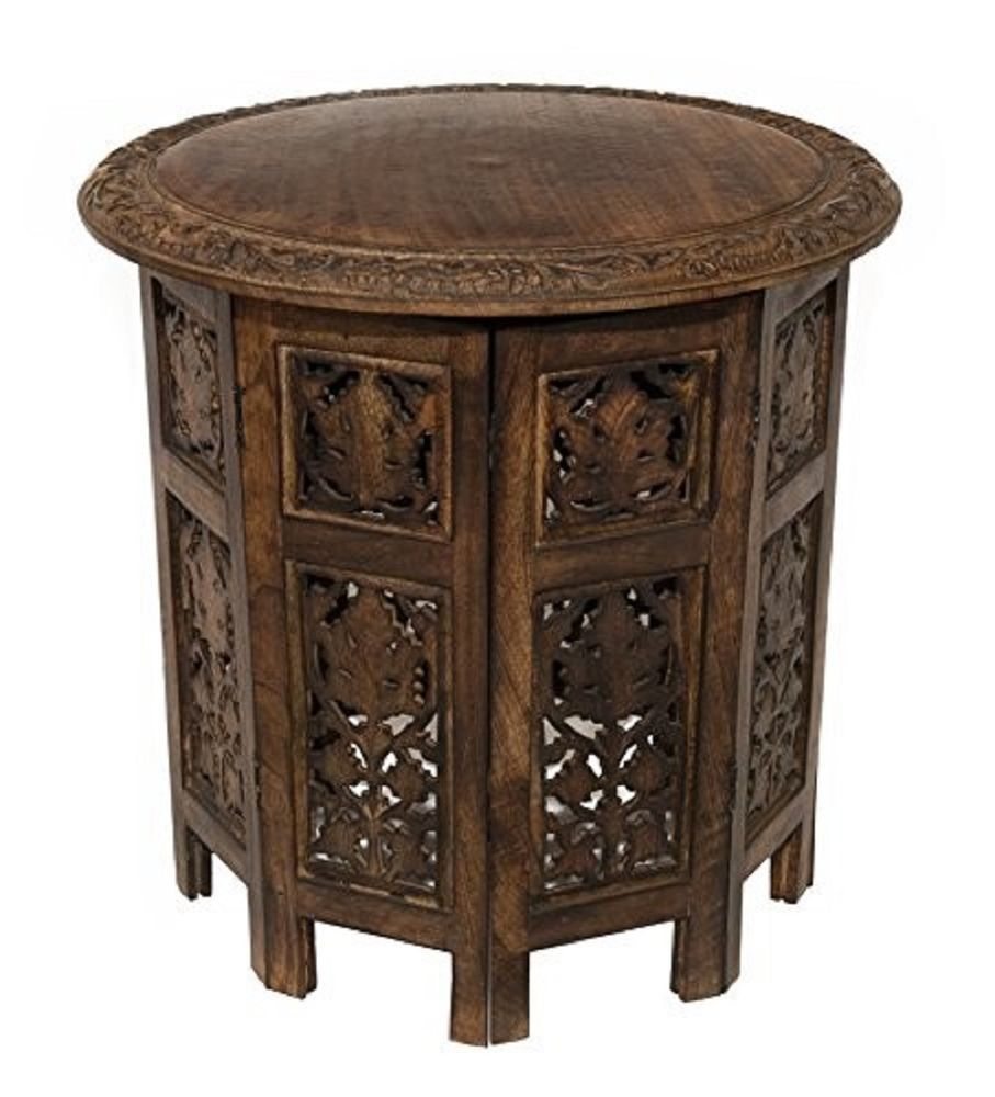 Wooden Side Accent Coffee Table Hand Crafted Mango Carved Wood 18 In Round Brown Coffee Table Wood Antique Coffee Tables Antique End Tables [ 1000 x 907 Pixel ]