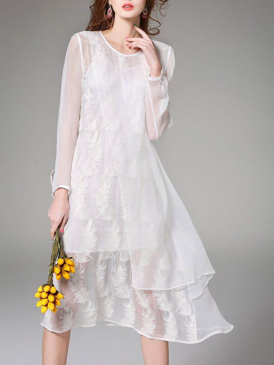 White cocktail dress for wedding  AdoreWe StyleWe Midi Dresses  NEXIIA White Two Piece Embroidered