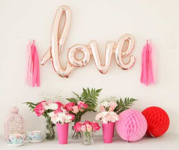 40 Inch Rose Gold LOVE Letter Balloons Gold Mylar Balloon