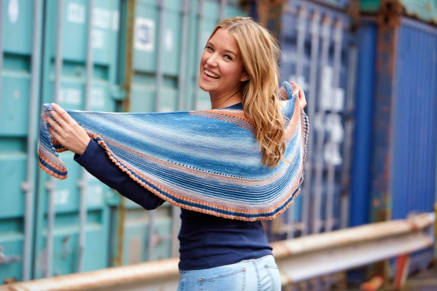 Photo of Lace shoulder scarf in a pattern mix – free knitting instructions