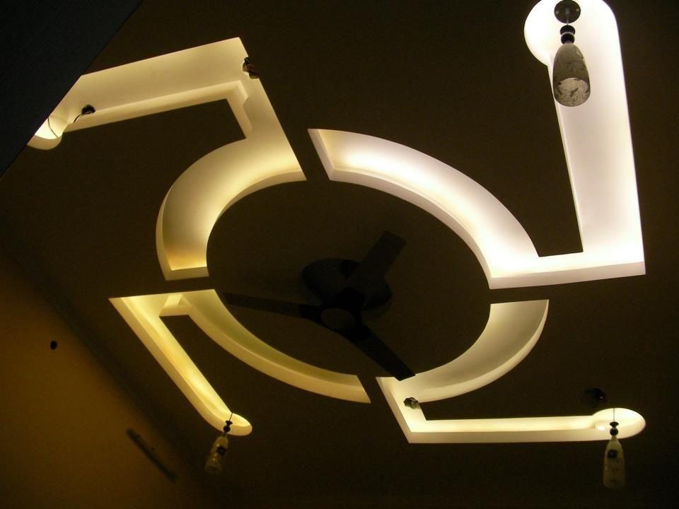 Bedroom False Ceiling Design - Indian Swastik (Warm White LEDs