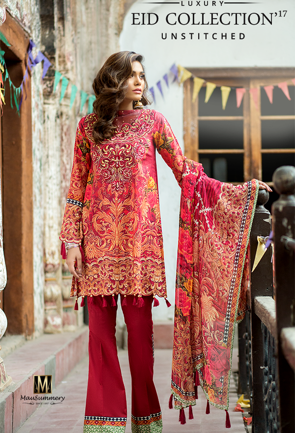 b5cb349949 Mausummery Embroidered Digital Printed #Lawn #Chiffon_Suit_for_Eid ...