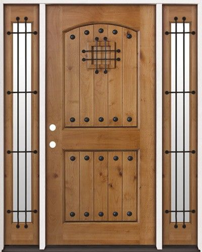 Rustic Knotty Alder Wood Entry Door with 2 Sidelites