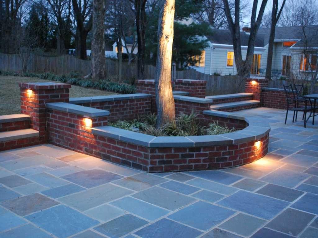 Patio Stone Wall Lighting. sitting wall lighting installation ...