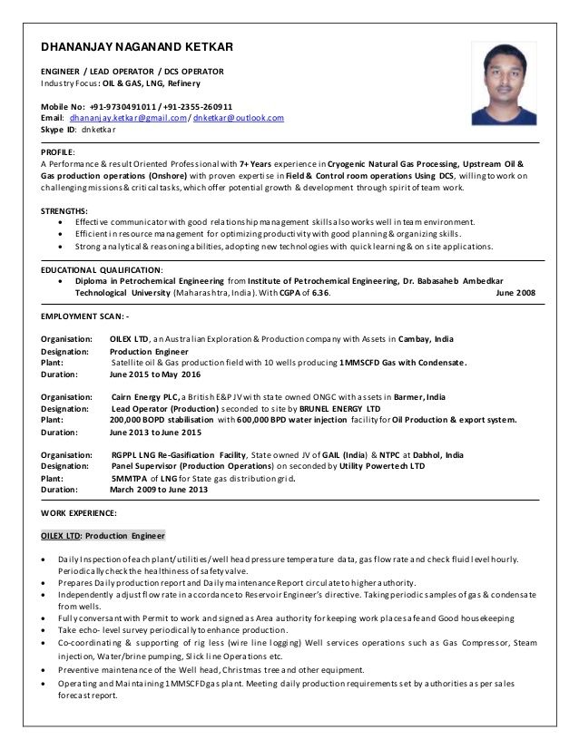 Image result for resume of senior utility operator of oil and gas ...