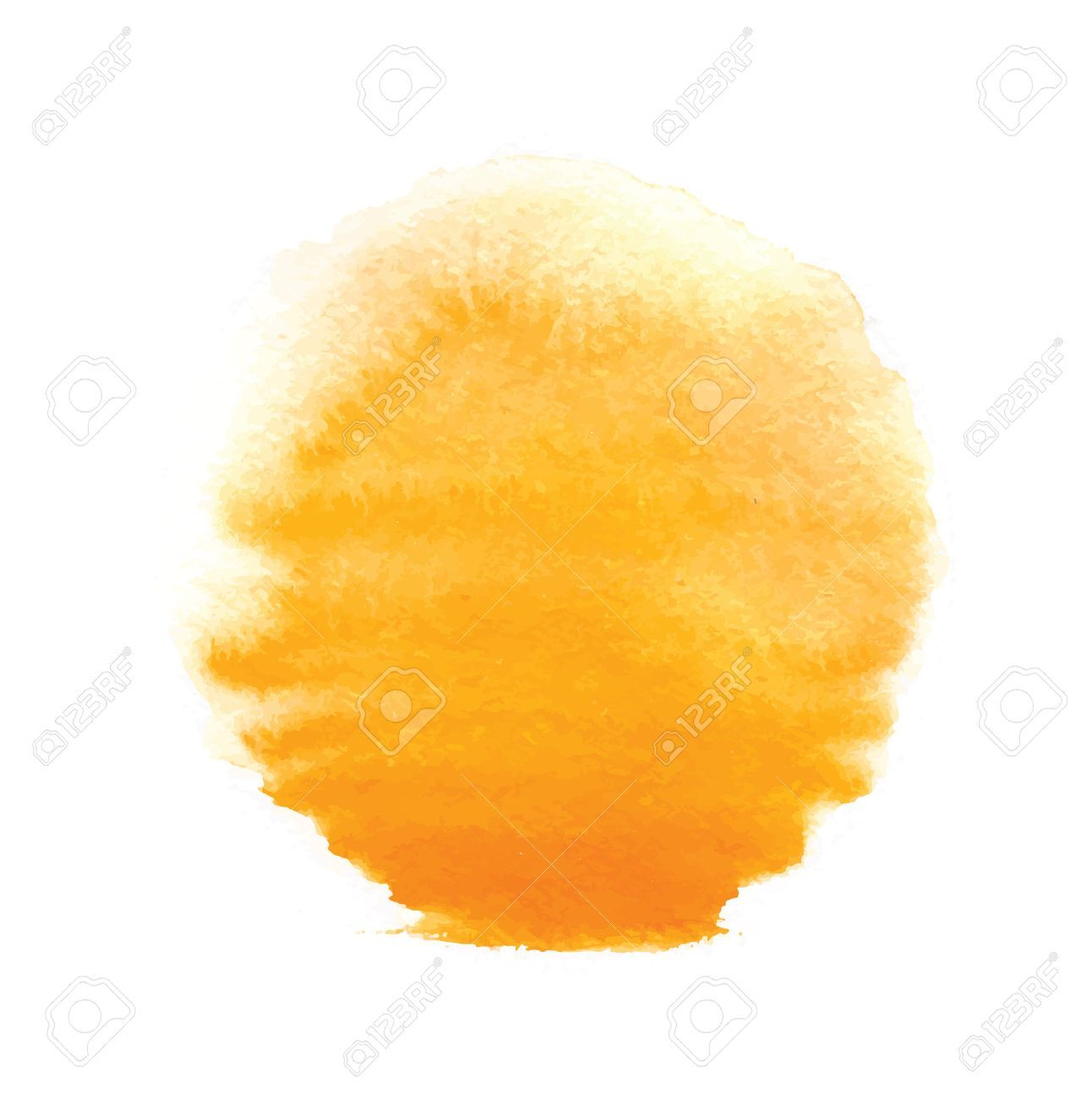 Watercolor Sun Vector Illustration Isolated On White Background