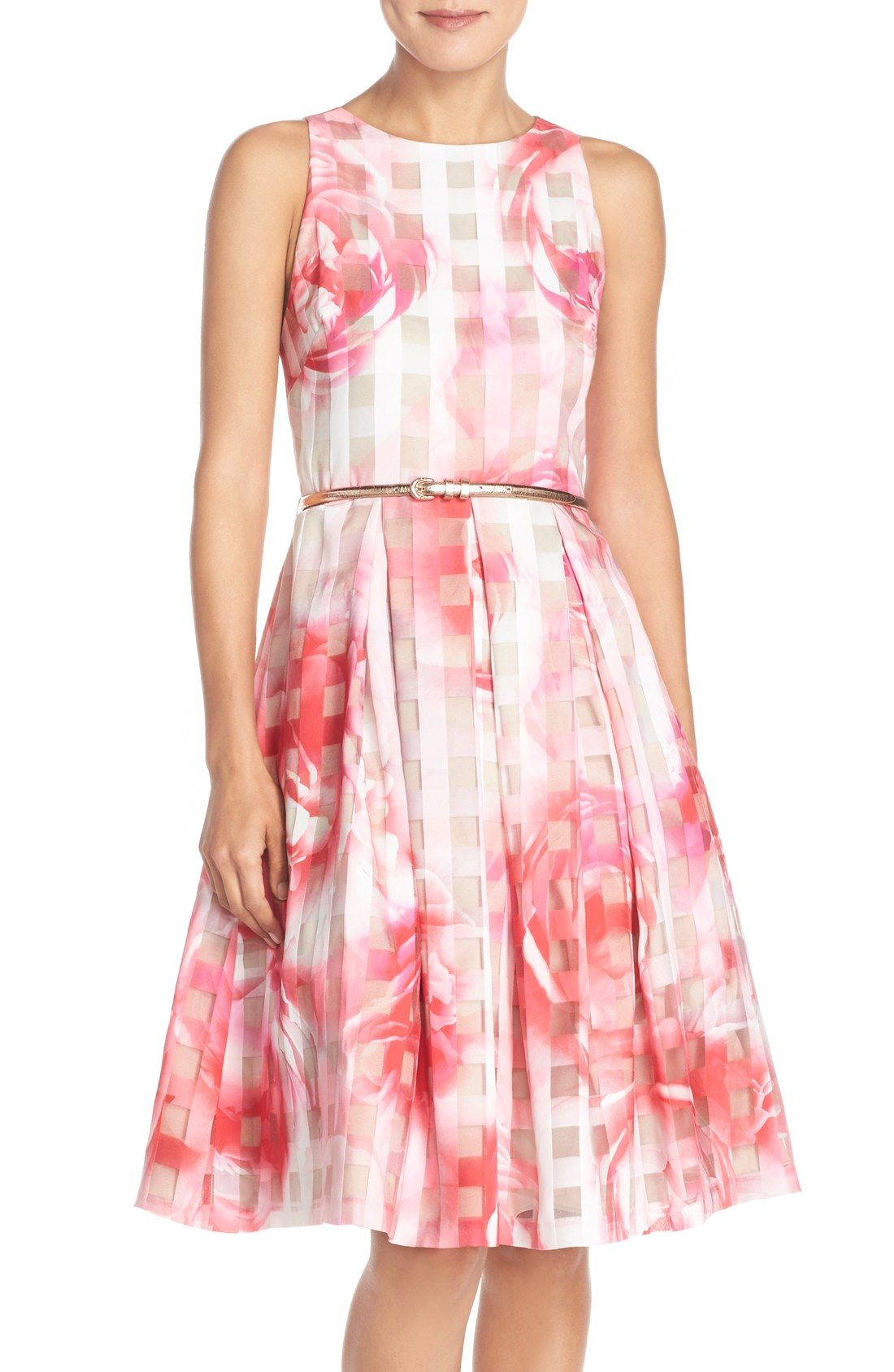 Eliza J Floral Organza Fit & Flare Dress (Regular & Petite ...